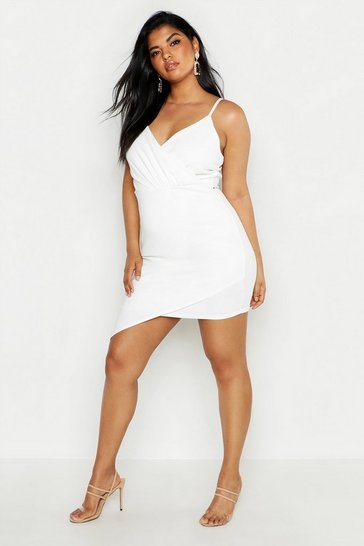 Womens Ivory Plus Wrap Over Bodycon Dress
