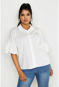 Womens White Plus Poplin Cold Shoulder Ruffle Shirt