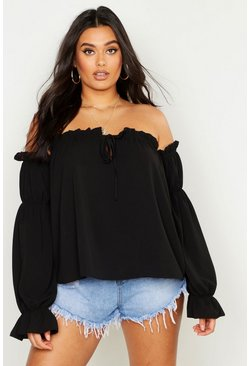 Womens Black Plus Off The Shoulder Gypsy Top