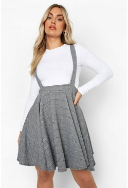 Womens Black Plus Dogtooth Check Pinafore Skirt