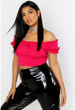 Womens Hot pink Plus Peasant Crop Top