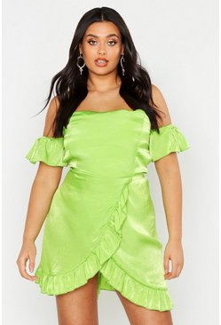 Womens Lime Plus Satin Bardot Ruffle Wrap Skater Dress