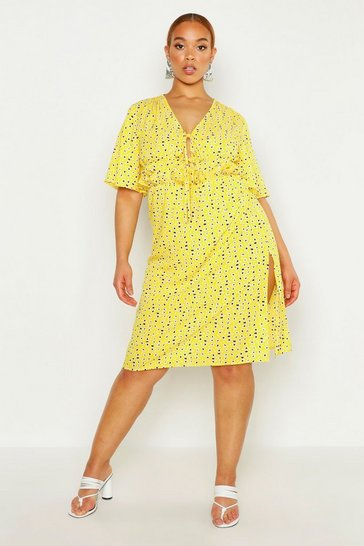 Womens Yellow Plus Floral Ruffle Midi Dress