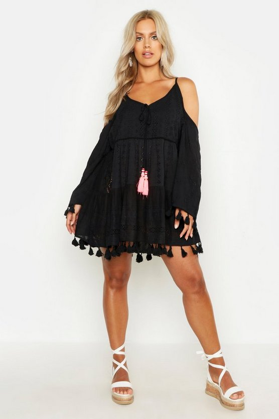 Womens Black Plus Broderie Anglaise Open Shoulder Beach Dress