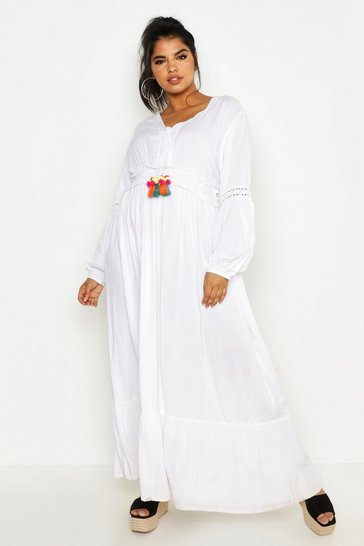 Womens White Plus Pom Pom Boho Plunge Maxi Dress