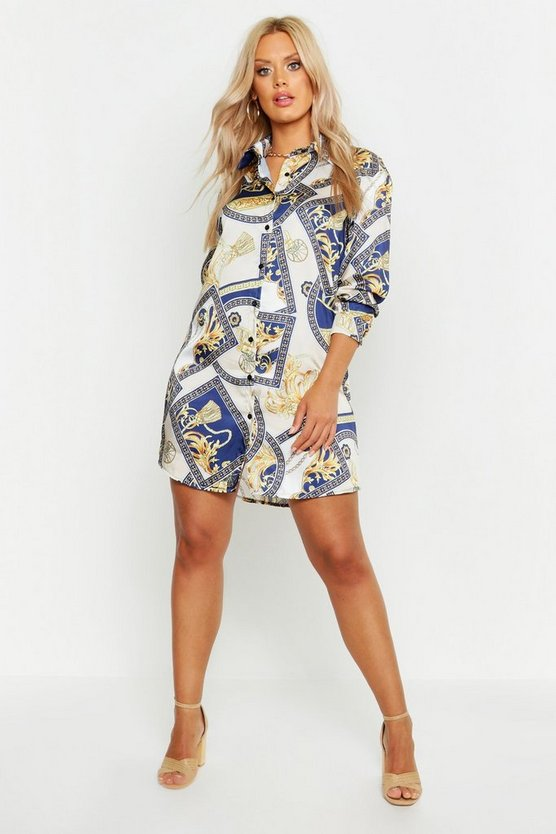Womens Navy Plus Chain Printed Satin Shirt Dress