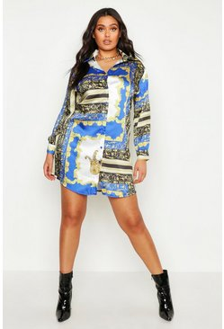 Womens Blue Plus Chain Print Oversized Shirt Dress