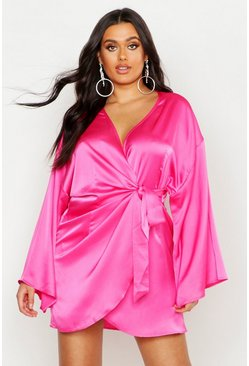 Womens Hot pink Plus Satin Wrap Dress