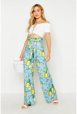 Womens Blue Petite Lemon Print Wide Leg Trouser