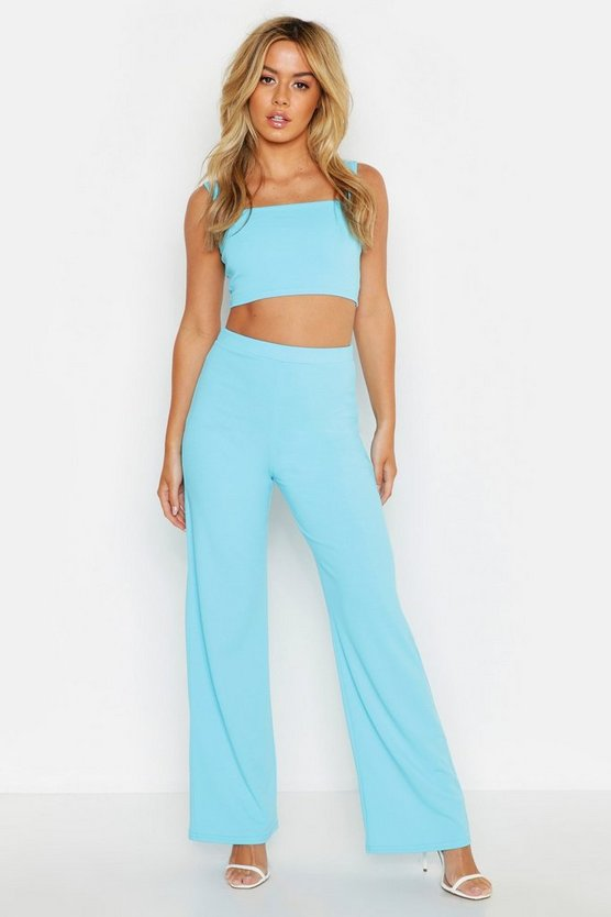 Womens Azure Petite Bandeau & Wide Leg Trouser Co-Ord