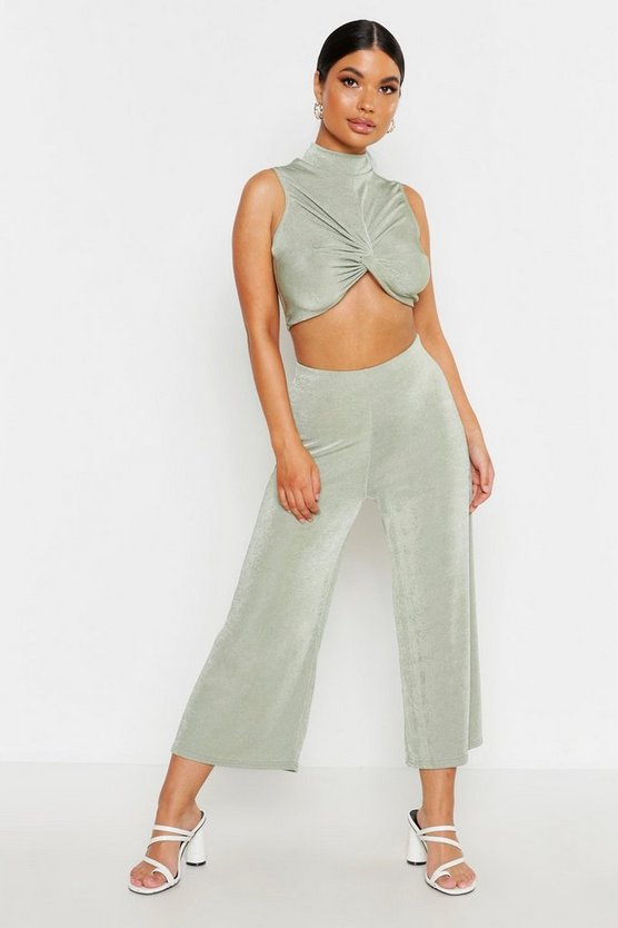 Womens Sage Petite Textured Slinky Wide Leg Culottes