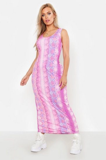 Womens Pink Plus Snake Print Maxi Dress