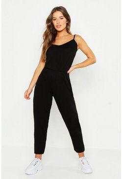 Womens Black Petite Basic Cami Strap Jumpsuit