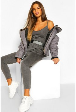 Womens Grey marl Petite Basic Cami Strap Jumpsuit
