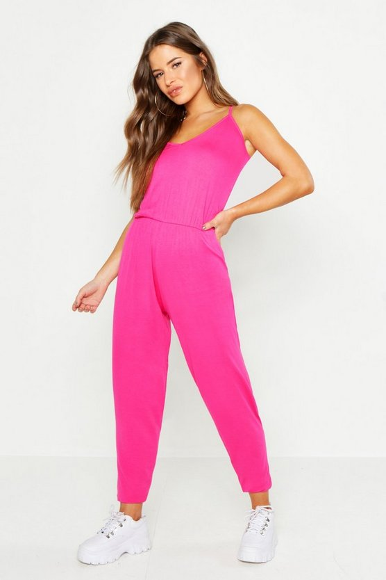 Womens Hot pink Petite Basic Cami Strap Jumpsuit