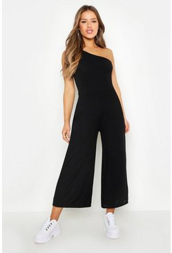 Womens Black Petite Rib One Shoulder Culotte Jumpsuit