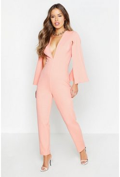 Womens Coral Petite Cape Sleeve Extreme Plunge Jumpsuit