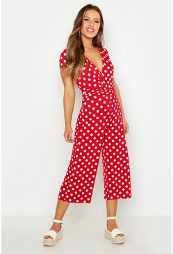 Womens Red Petite Polka Dot Wrap Front Culotte Jumpsuit