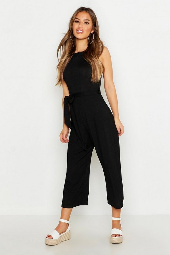 Womens Black Petite High Neck Belted Rib Culotte Jumpsuit
