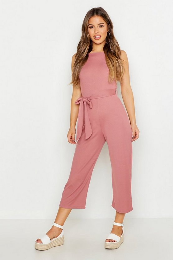 Womens Rose Petite High Neck Belted Rib Culotte Jumpsuit