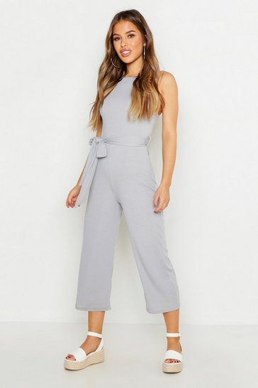 Silver Petite High Neck Belted Rib Culotte Jumpsuit
