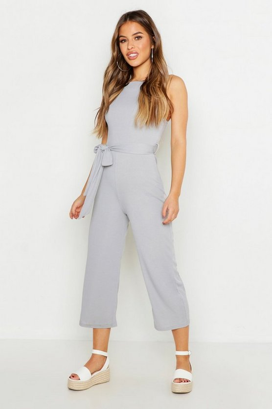 Womens Silver Petite High Neck Belted Rib Culotte Jumpsuit
