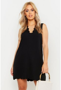 Womens Black Plus Scallop Edge V Neck Sleeveless Shift Dress