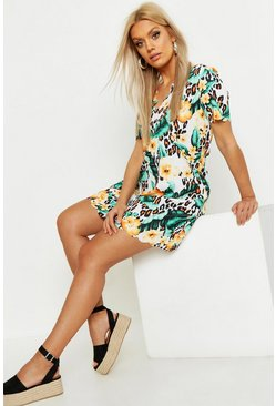 Womens Tan Plus Floral Leopard Scallop Hem Shift Dress