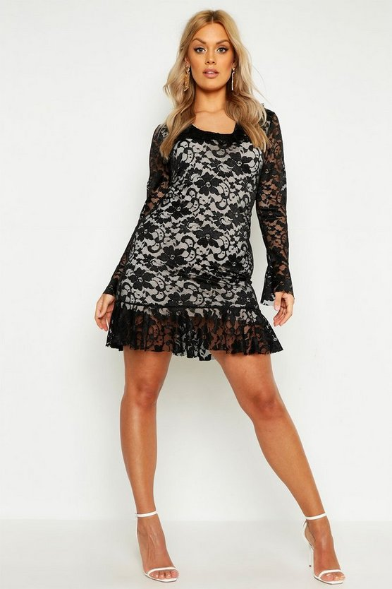 Womens Black Plus Lace Ruffle Bodycon Dress