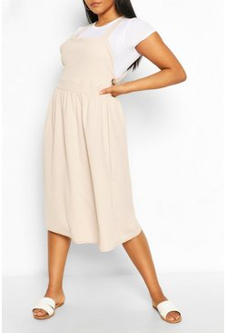 Womens Stone Plus Midi Pinafore Dress