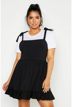 Womens Black Plus Tie Strap Skater Pinafore