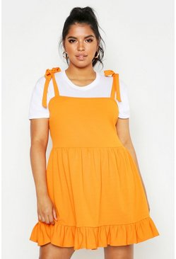 Womens Orange Plus Tie Strap Skater Pinafore