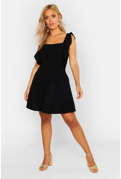 Womens Black Plus Ruffle Skater Pinafore Dress
