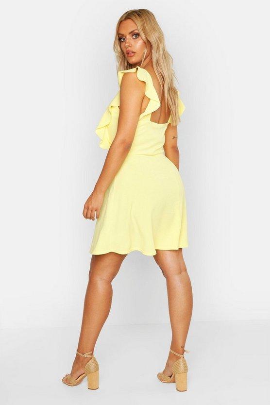 Plus Ruffle Skater Pinafore Dress