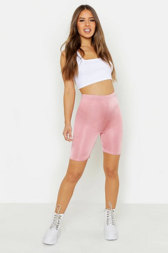 Womens Coral Petite Disco Slinky High Waist Cycling Shorts
