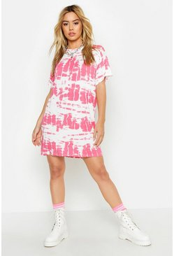 Womens Pink Petite Tie Dye T-Shirt Dress
