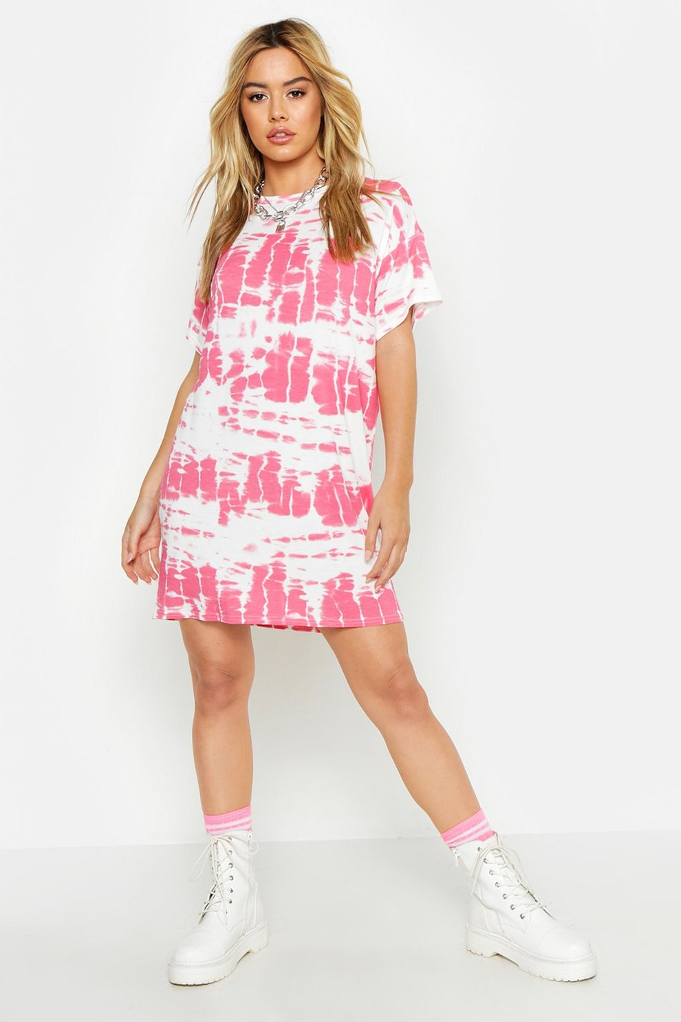 1e2904caf0dddf Womens Pink Petite Tie Dye T-Shirt Dress