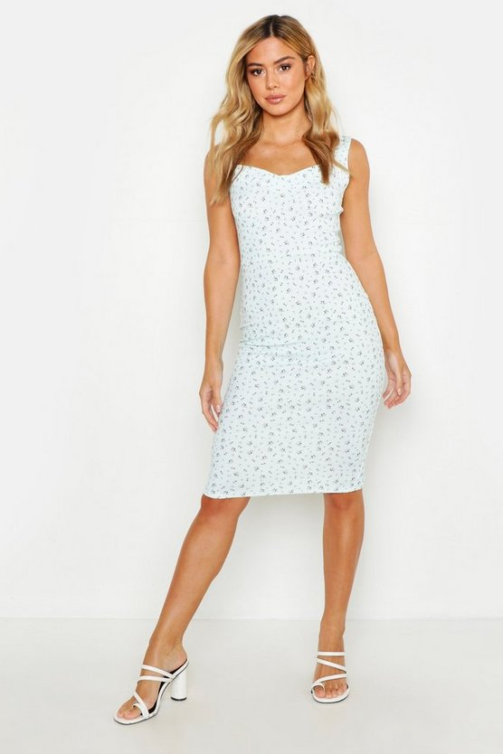 Womens Mint Petite Ditsy Floral Cup Midi Dress
