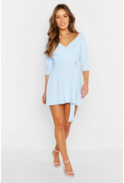 Womens Pale blue Petite Tailored Belted Skater Dress