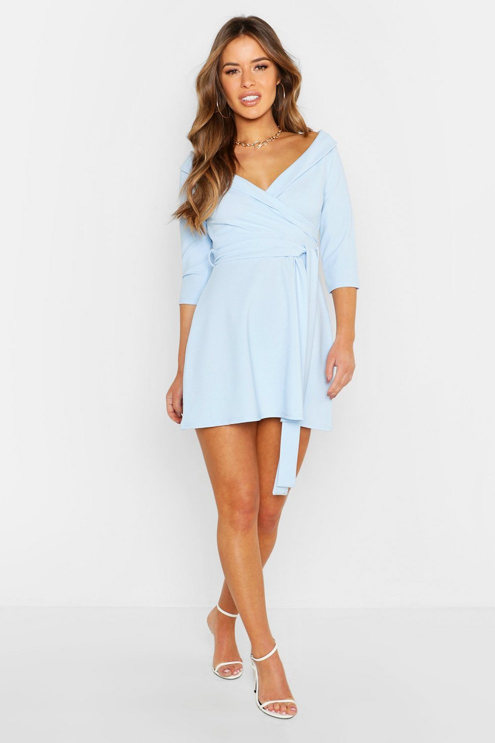 840ac589f Womens Pale blue Petite Tailored Belted Skater Dress