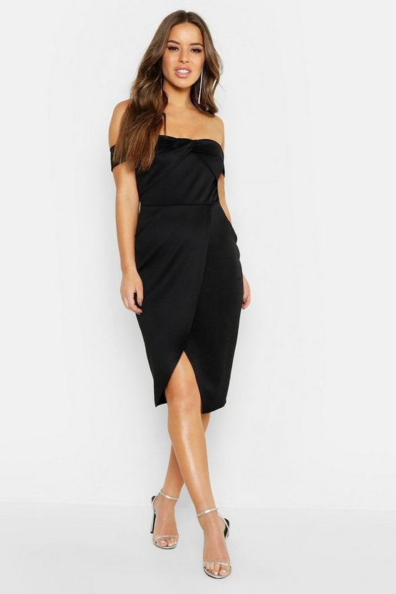 Black Petite Twist Front Bardot Wrap Midi Dress