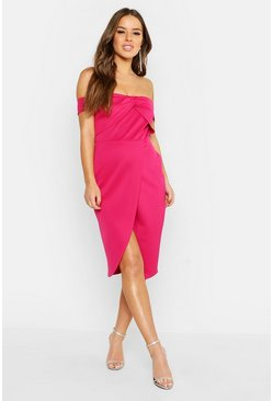 Hot pink Petite Twist Front Bardot Wrap Midi Dress