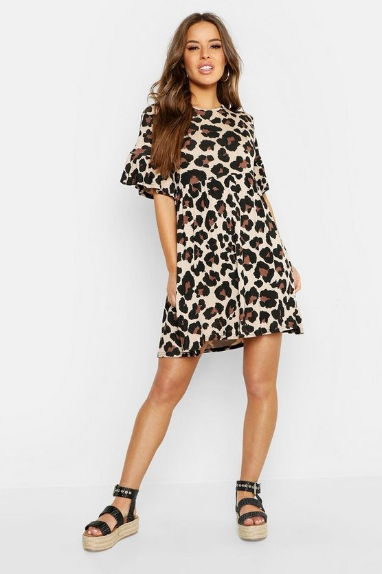 Womens Tan Petite Leopard Print Smock Dress