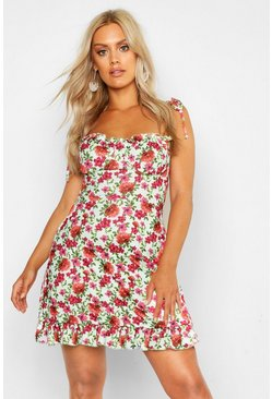 Sage Plus Floral Ruched Cup Skater Dress