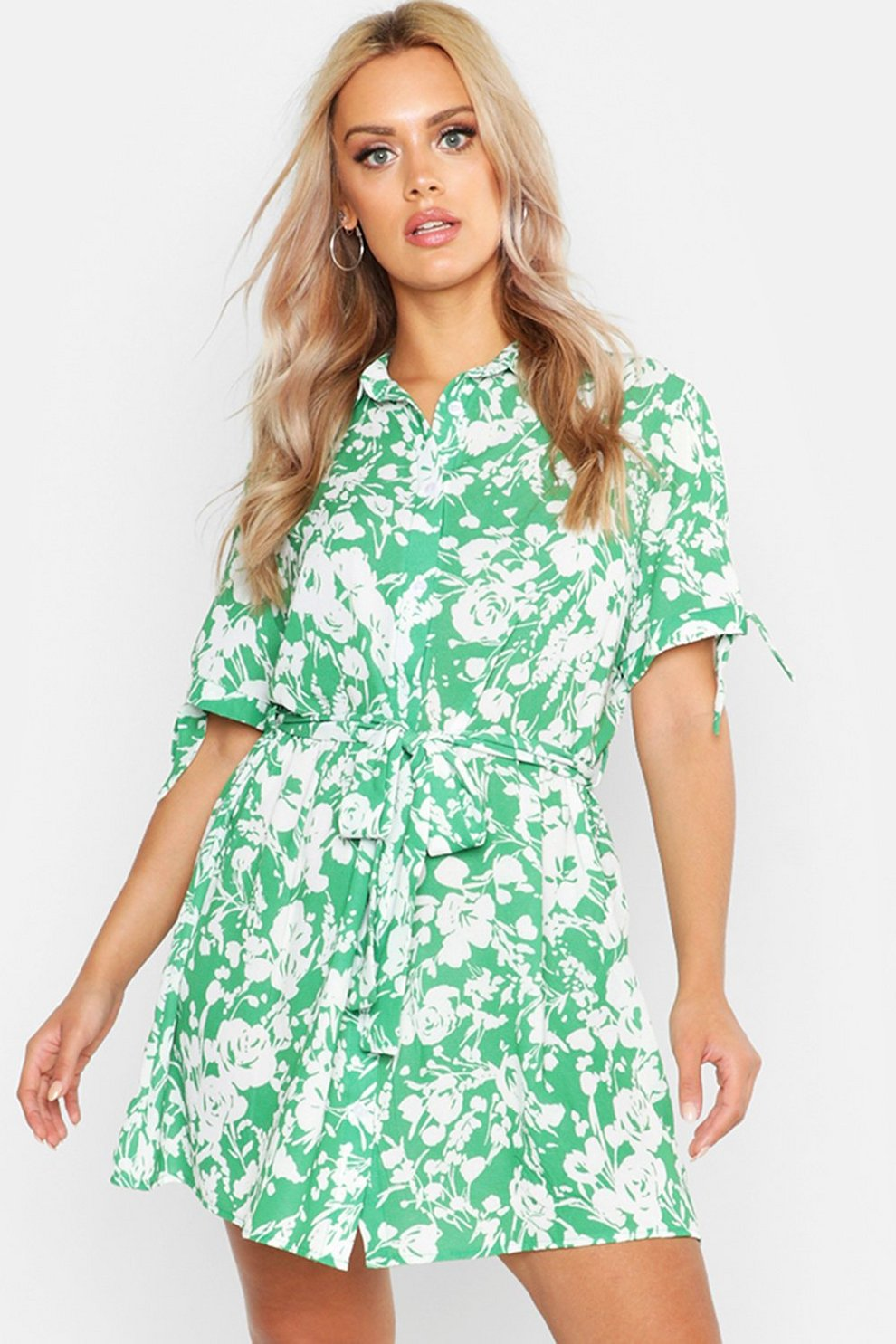 546bb89f7462e Plus Floral Print Woven Tie Waist Shirt Dress | Boohoo