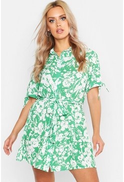 Womens Green Plus Floral Print Woven Tie Waist Shirt Dress