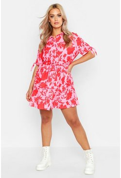 Womens Pink Plus Floral Woven Tie Waist Shirt Dress