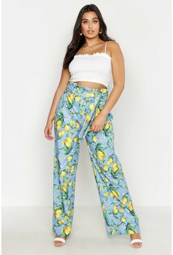 Womens Blue Plus Lemon Printed High Waist Trousers