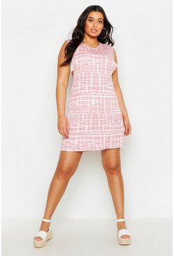 Womens Pink Plus Tie Dye Drop Armhole Beach Dress