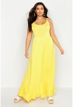 Womens Yellow Plus Tiered Strappy Maxi Dress